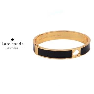 Kate Spade ♠️ Hole Punch Hinge Bangle Black/Gold